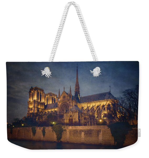 Notre Dame On The Seine Textured Weekender Tote Bag