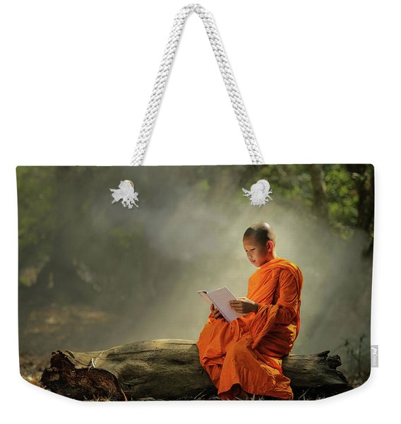 Novice Is Learning Religion At The Forest. Weekender Tote Bag