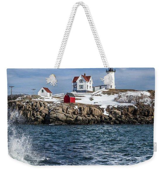Nubble Lighthouse Winter Weekender Tote Bag