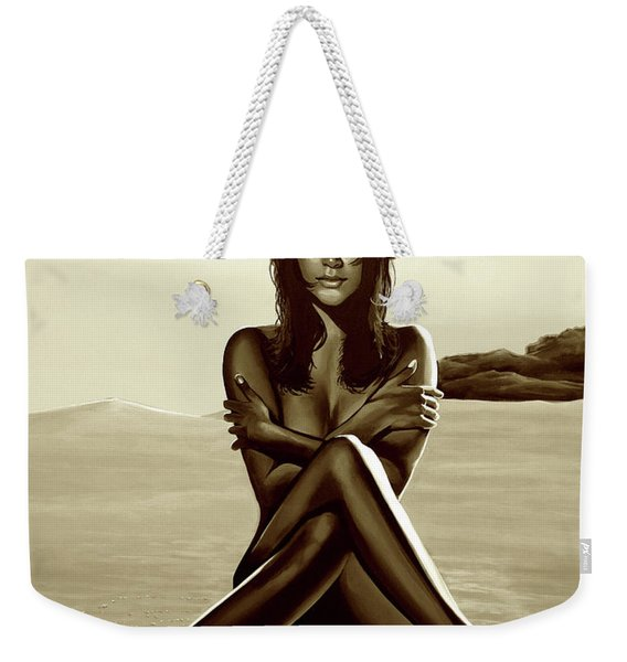 Nude Beach Beauty Sepia Weekender Tote Bag