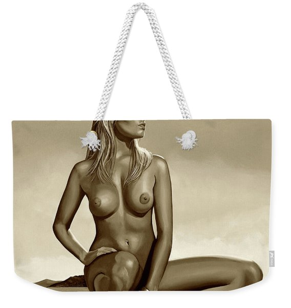 Nude Blond Beauty Sepia Weekender Tote Bag