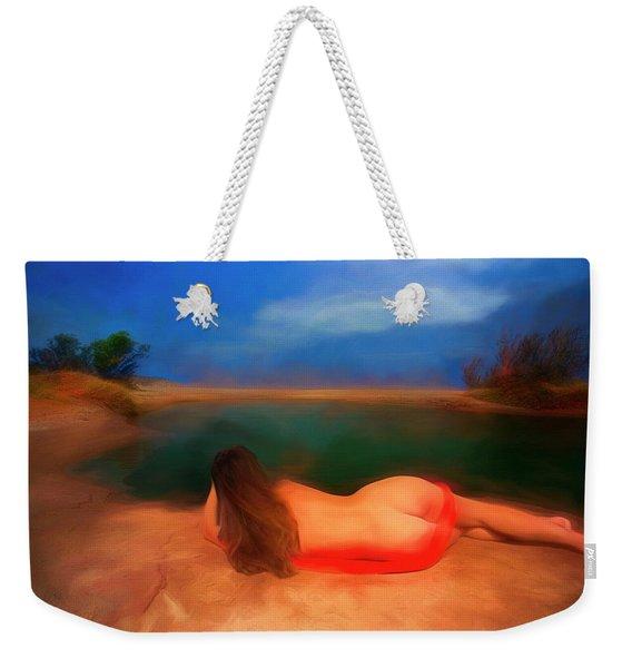 Nude Girl Lying Beside The Small Lake Weekender Tote Bag
