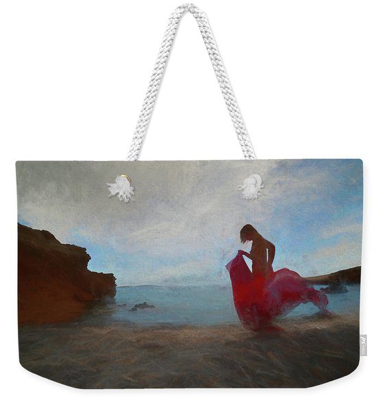 Nude Girl On The Beach With A Red Cloth Weekender Tote Bag