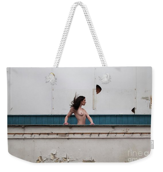 Weekender Tote Bag featuring the photograph Nude Woman And Lines by Clayton Bastiani