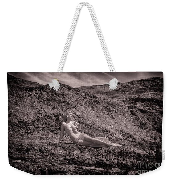 Weekender Tote Bag featuring the photograph Nude Woman On Beach by Clayton Bastiani