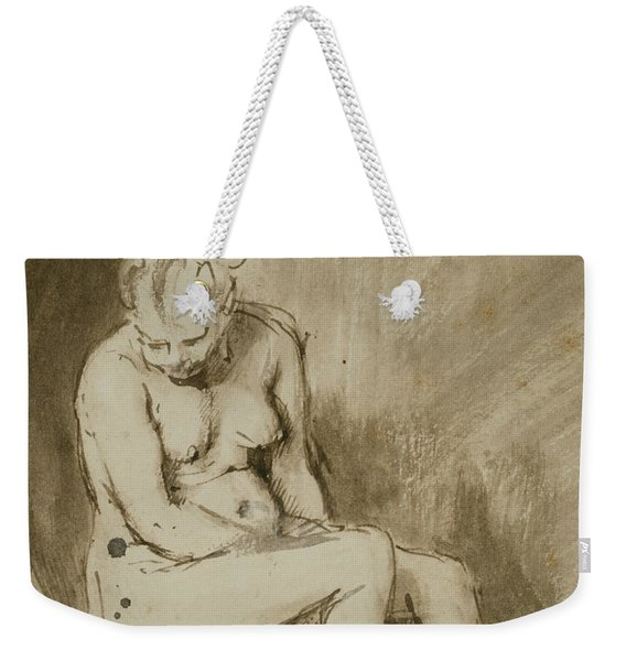 Nude Woman Seated On A Stool  Weekender Tote Bag