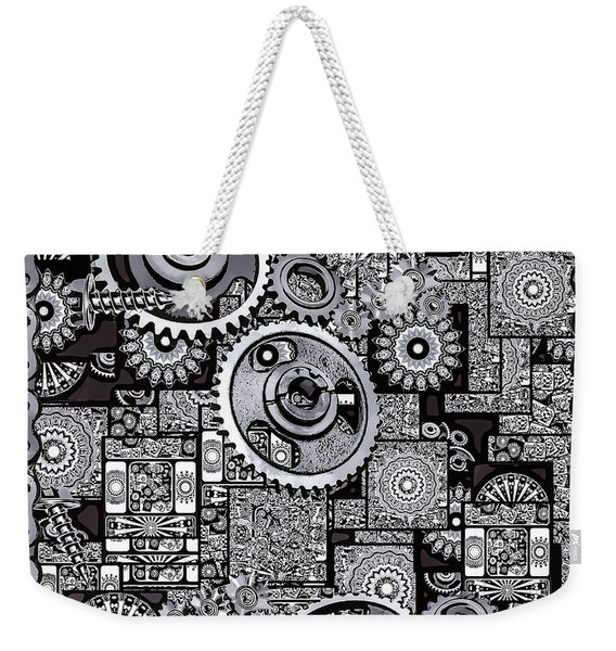 Weekender Tote Bag featuring the digital art Nuts And Bolts by Eleni Mac Synodinos