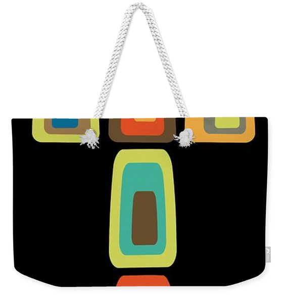 Weekender Tote Bag featuring the digital art Oblong Cross by Donna Mibus