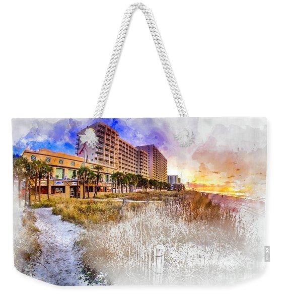 Ocean Drive Sunrise Watercolor Weekender Tote Bag