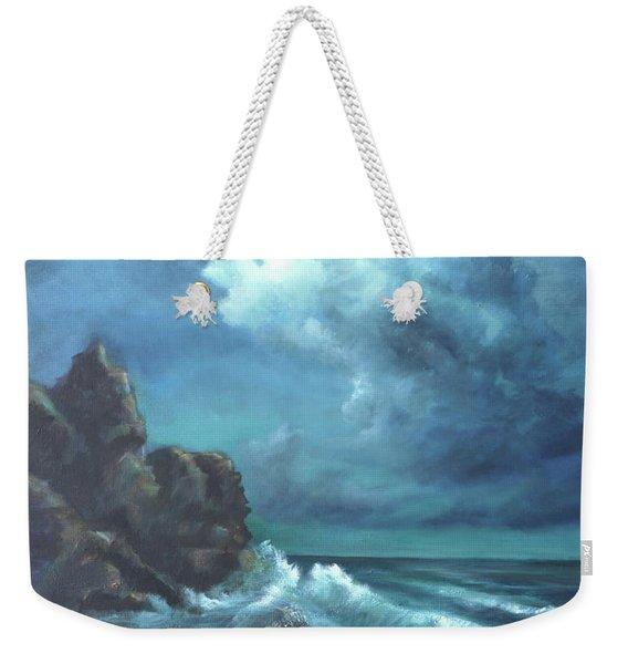 Seascape And Moonlight An Ocean Scene Weekender Tote Bag