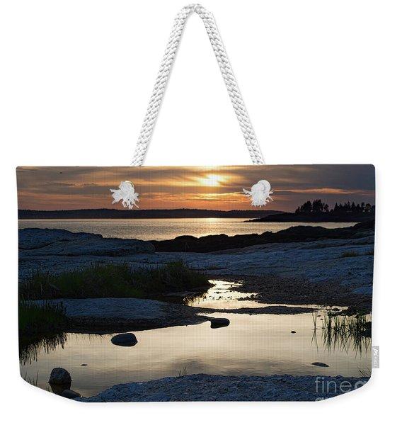 Ocean Point Sunset In East Boothbay Maine  -23091-23093 Weekender Tote Bag