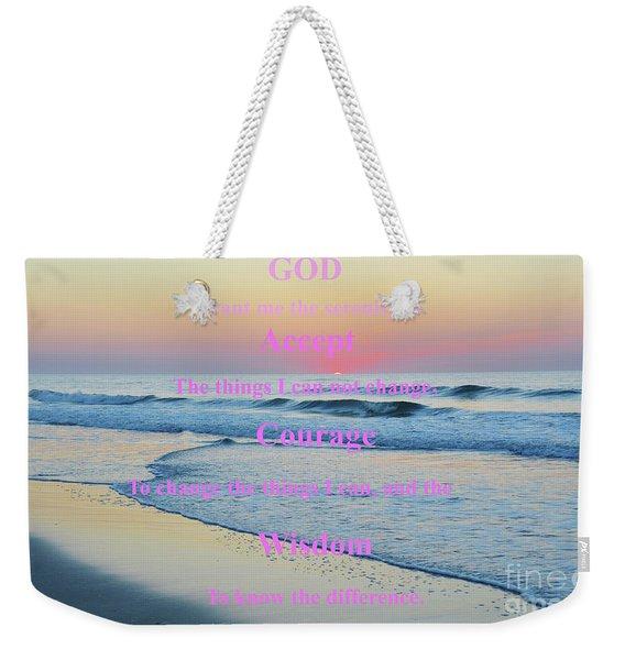 Ocean Sunrise Serenity Prayer Weekender Tote Bag