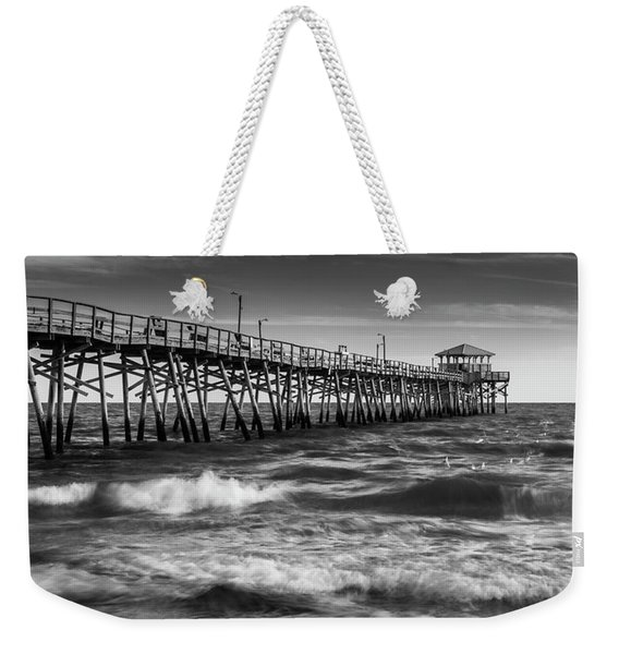 Weekender Tote Bag featuring the photograph Oceana Ocean Crest Fishing Pier In Nc Panorama In Bw by Ranjay Mitra
