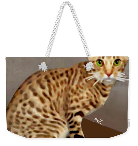 Weekender Tote Bag featuring the painting Ocicat by Marian Cates
