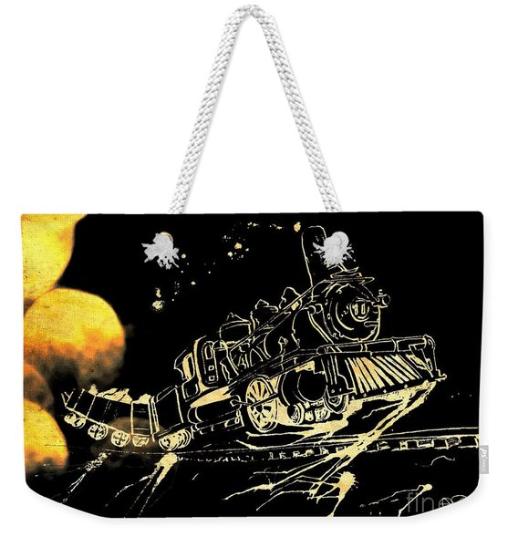 Weekender Tote Bag featuring the painting Off The Rails by Denise Tomasura