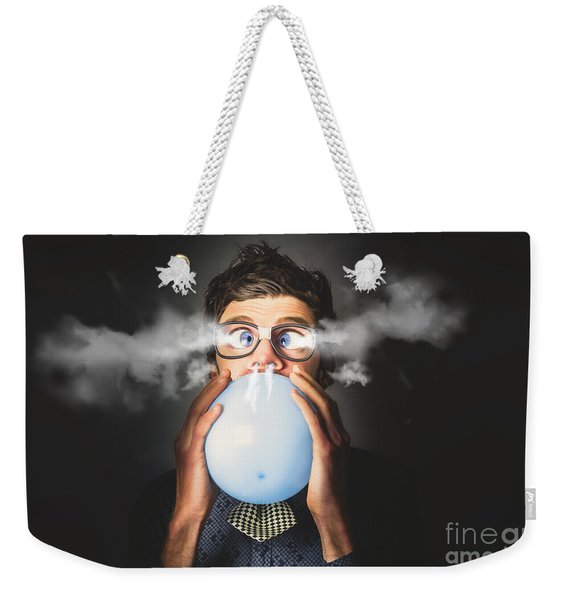 Office Party Nerd Blowing Up Birthday Balloon Weekender Tote Bag