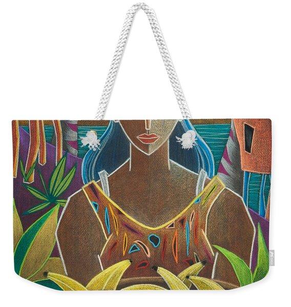 Weekender Tote Bag featuring the painting Ofrendas De Mi Tierra by Oscar Ortiz