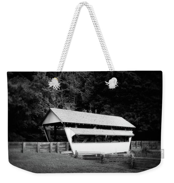 Ohio Covered Bridge In Black And White Weekender Tote Bag