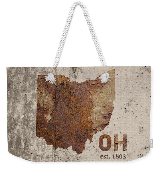 Ohio State Map Industrial Rusted Metal On Cement Wall With Founding Date Series 018 Weekender Tote Bag