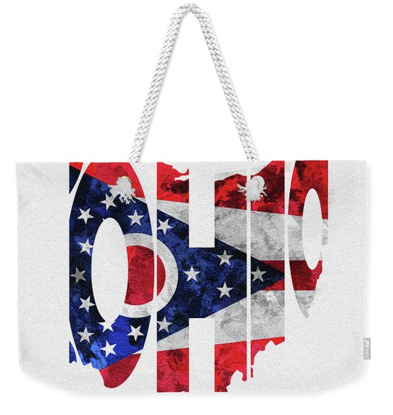 Ohio Typographic Map Flag Weekender Tote Bag