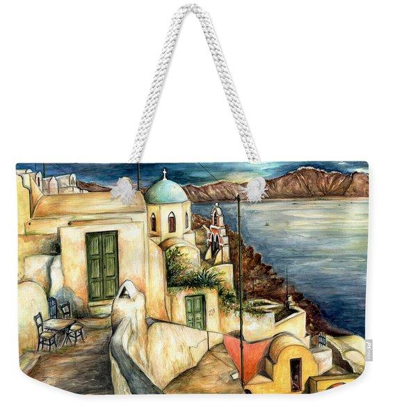 Oia Santorini Greece - Watercolor Weekender Tote Bag