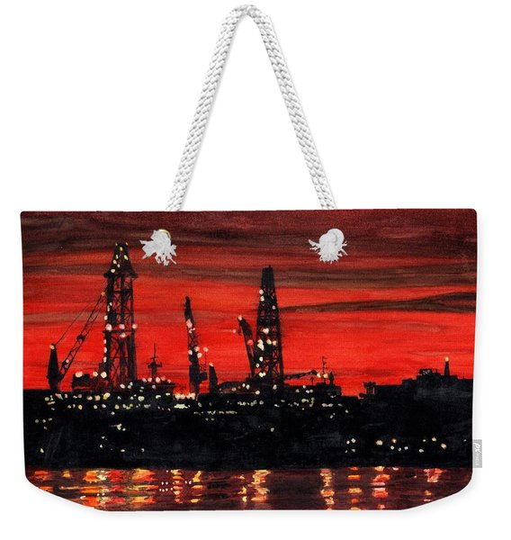 Oil Rigs Night Construction Portland Harbor Weekender Tote Bag