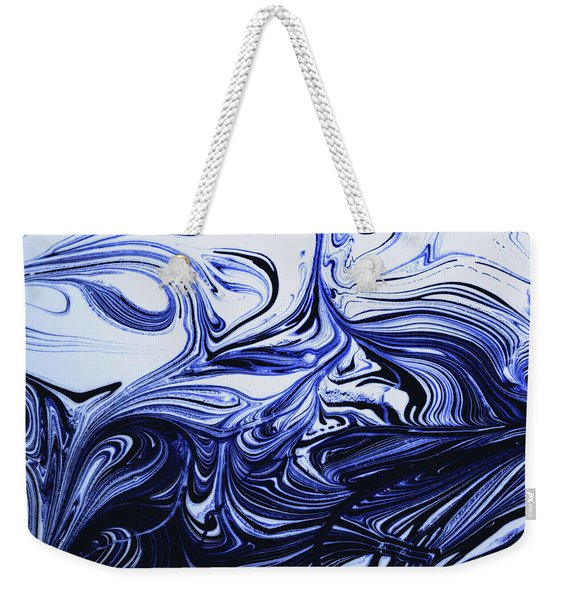 Oil Swirl Blue Droplets Abstract I Weekender Tote Bag