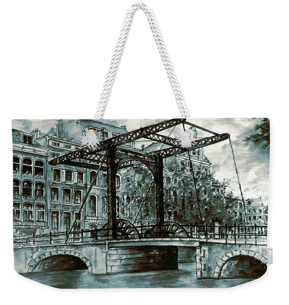 Old Amsterdam Bridge In Dutch Blue Water Colors Weekender Tote Bag