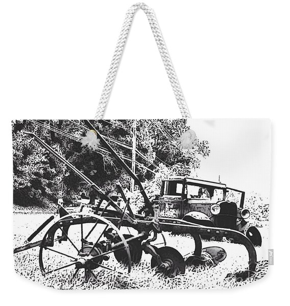 Old And Rusty In Black White Weekender Tote Bag