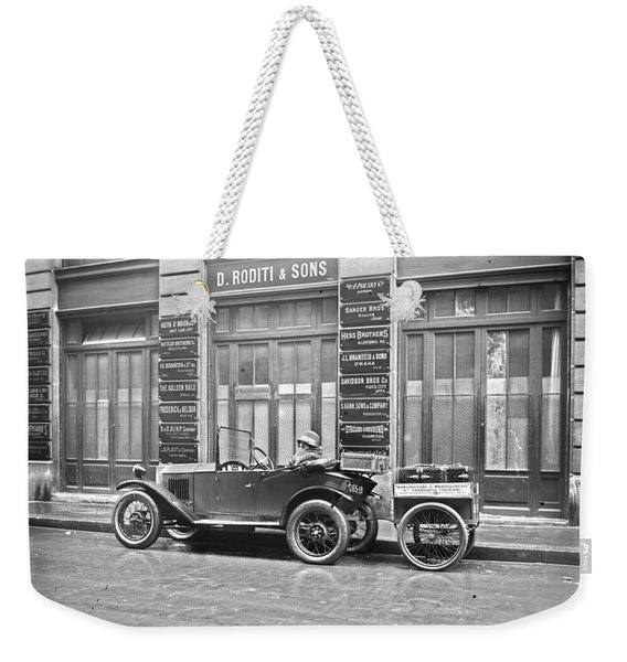 old automobile poster art wall - photo auto poster, auto photography restored - Restored auto photo  Weekender Tote Bag