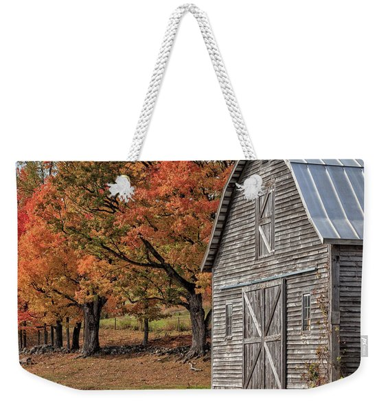 Old Barn With New England Foliage Weekender Tote Bag
