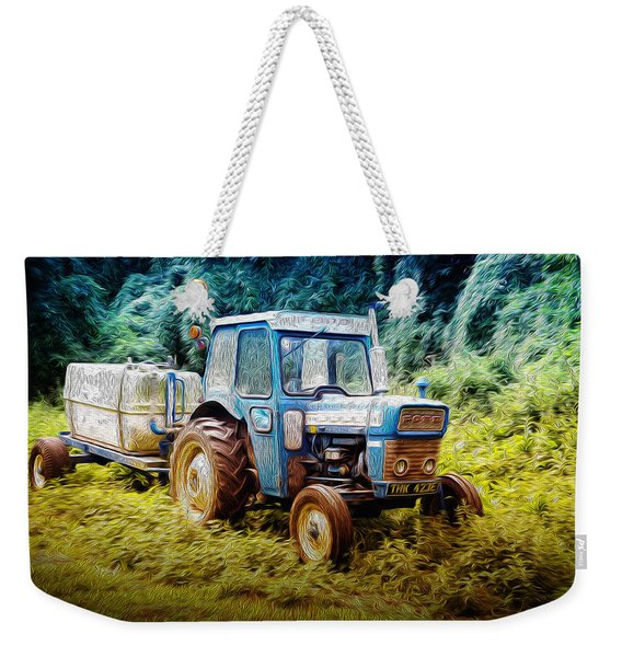Old Blue Ford Tractor Weekender Tote Bag