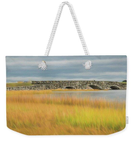 Weekender Tote Bag featuring the photograph Old Bridge In Autumn by Nancy De Flon