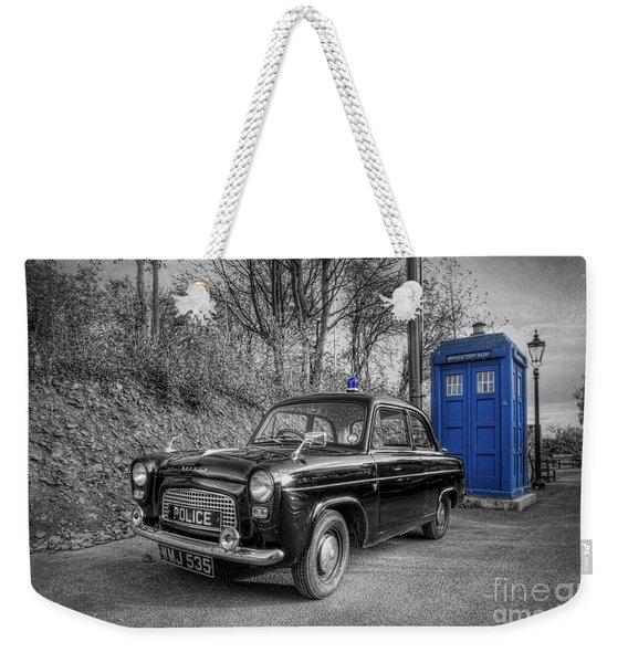 Old British Police Car And Tardis Weekender Tote Bag