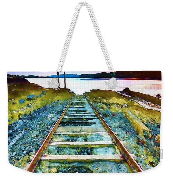 Old Broken Railway Track Watercolor Weekender Tote Bag