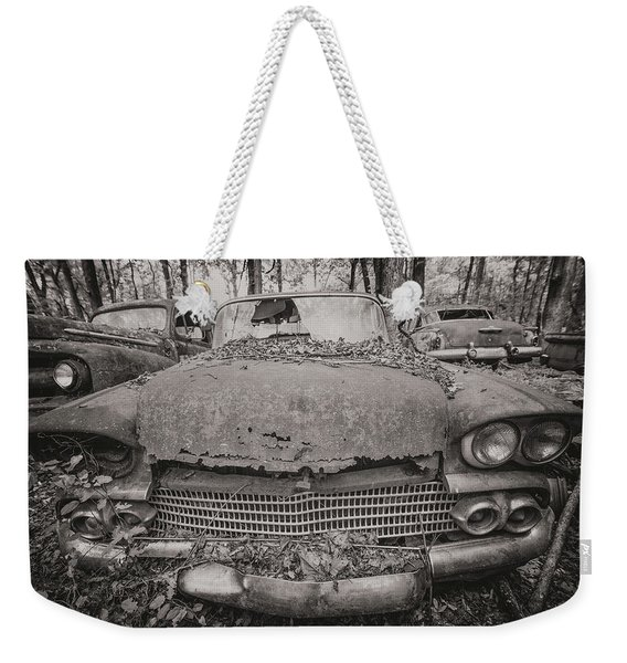 Old Car City In Black And White Weekender Tote Bag