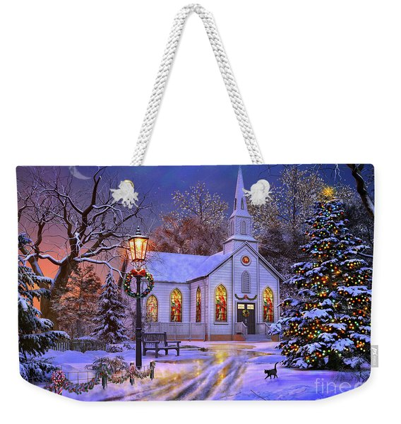 Old Church At Christmas Weekender Tote Bag