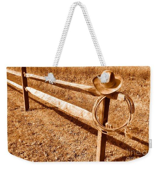 Old Cowboy Hat On Fence - Sepia Weekender Tote Bag
