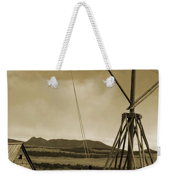 Old Crane And Shed Utah Countryside In Sepia Weekender Tote Bag