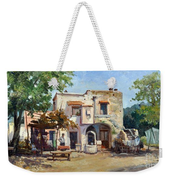 Weekender Tote Bag featuring the painting Old Farm by Rosario Piazza
