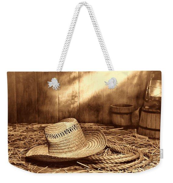 Old Farmer Hat And Rope Weekender Tote Bag