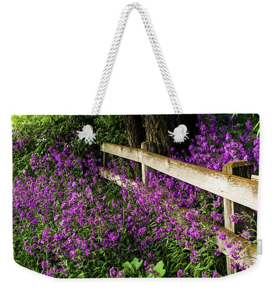 Old Fence And Purple Flowers Weekender Tote Bag