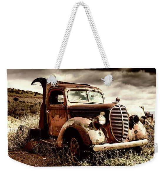 Old Ford Truck In Desert Weekender Tote Bag