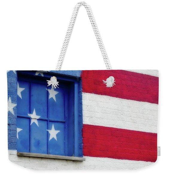 Old Glory, American Flag Mural, Street Art Weekender Tote Bag