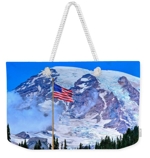 Old Glory At Mt. Rainier Weekender Tote Bag