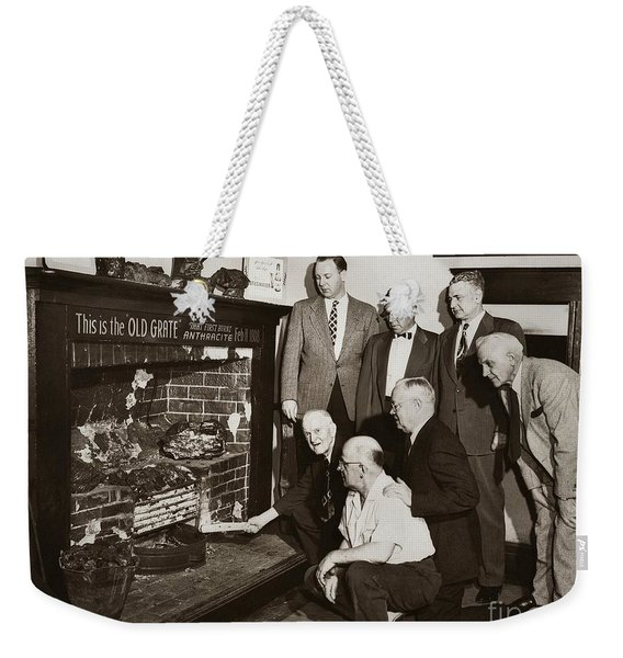 Old Grate That First Burned Anthracite Coal Successfully In The Old Fell House Wilkes Barre Pa Weekender Tote Bag