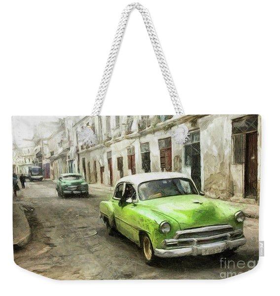 Old Green Car Weekender Tote Bag