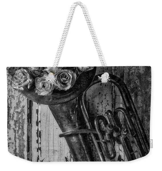 Old Horn And Roses On Door Black And White Weekender Tote Bag