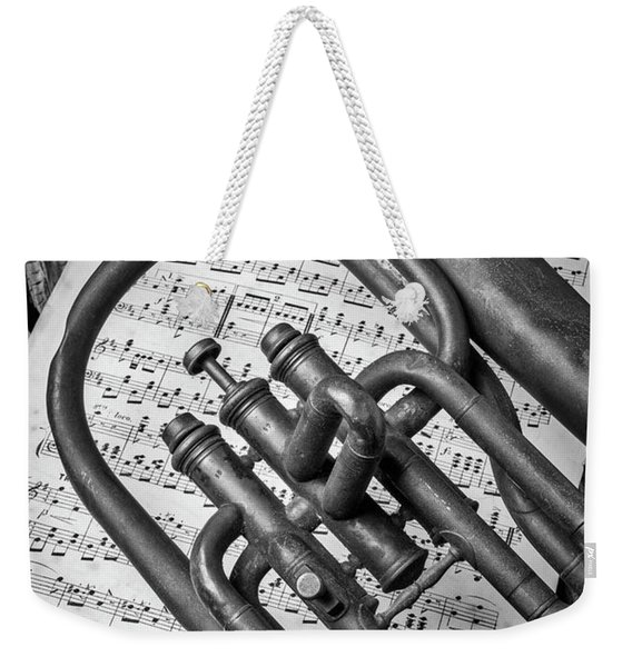 Old Horn And Sheet Music Weekender Tote Bag