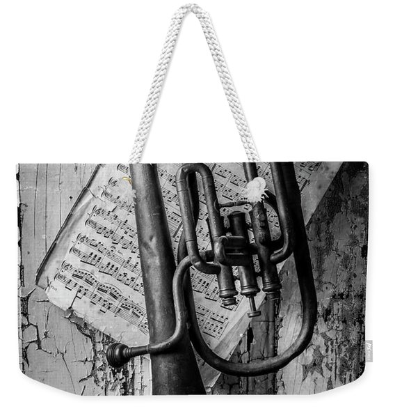 Old Horn In Black And White Weekender Tote Bag